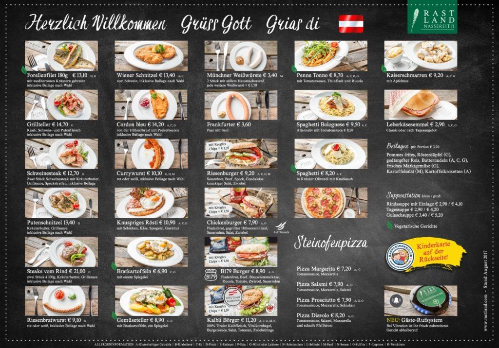 Speisekarte Restaurant Fernpass